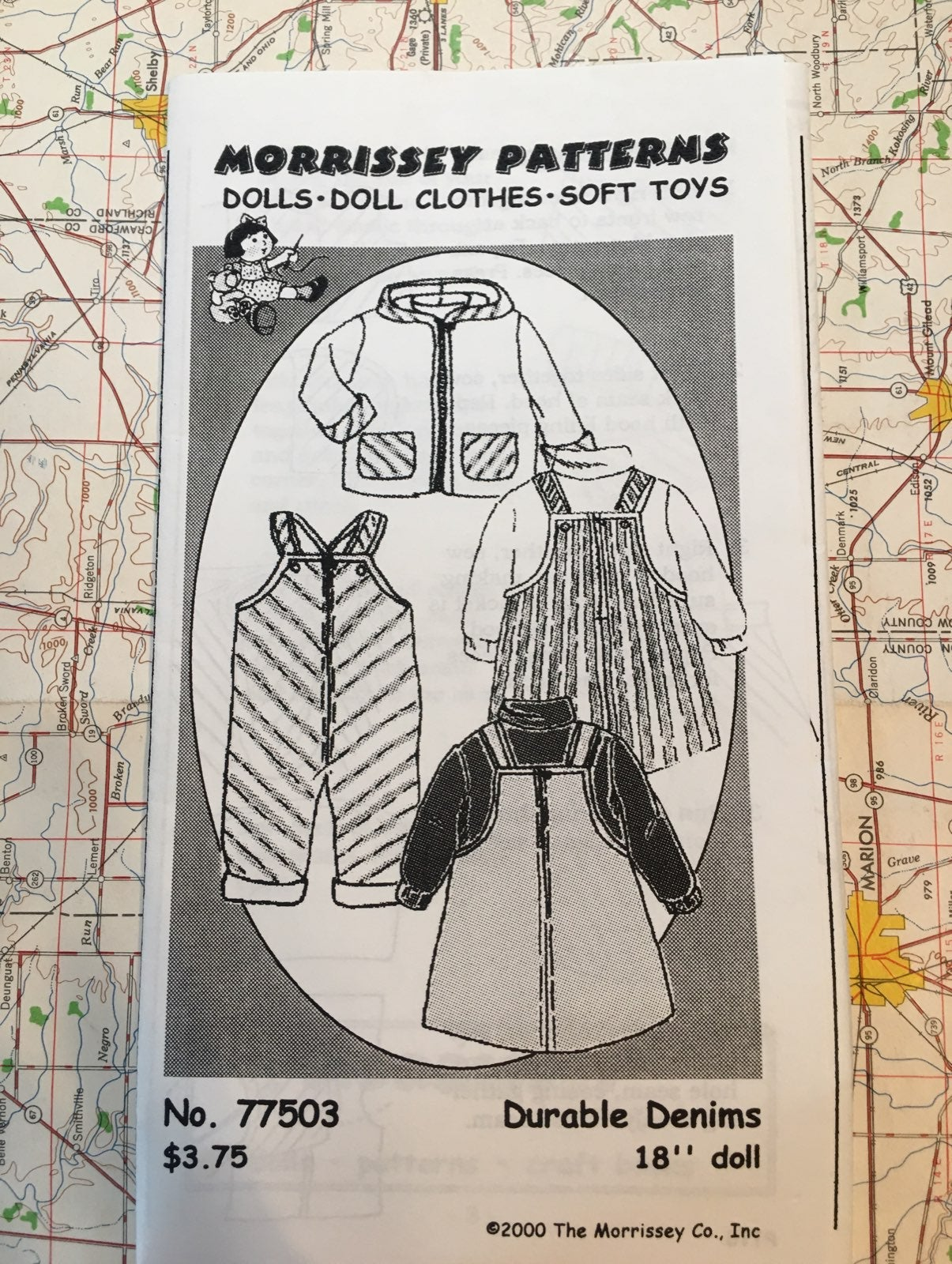 """Denim outfit patterns for 18"""" Doll"""
