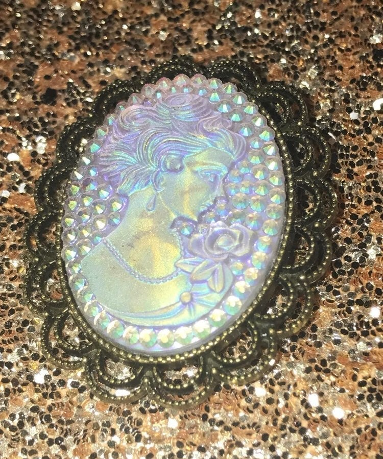 Cameo iridescent vintage brooch