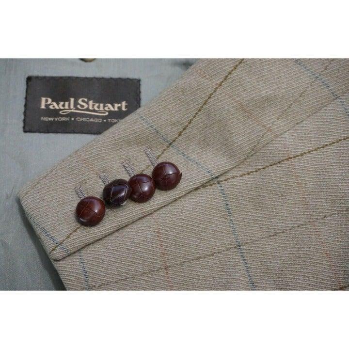 Paul Stuart Brown Red Blue Plaid Wool Ha