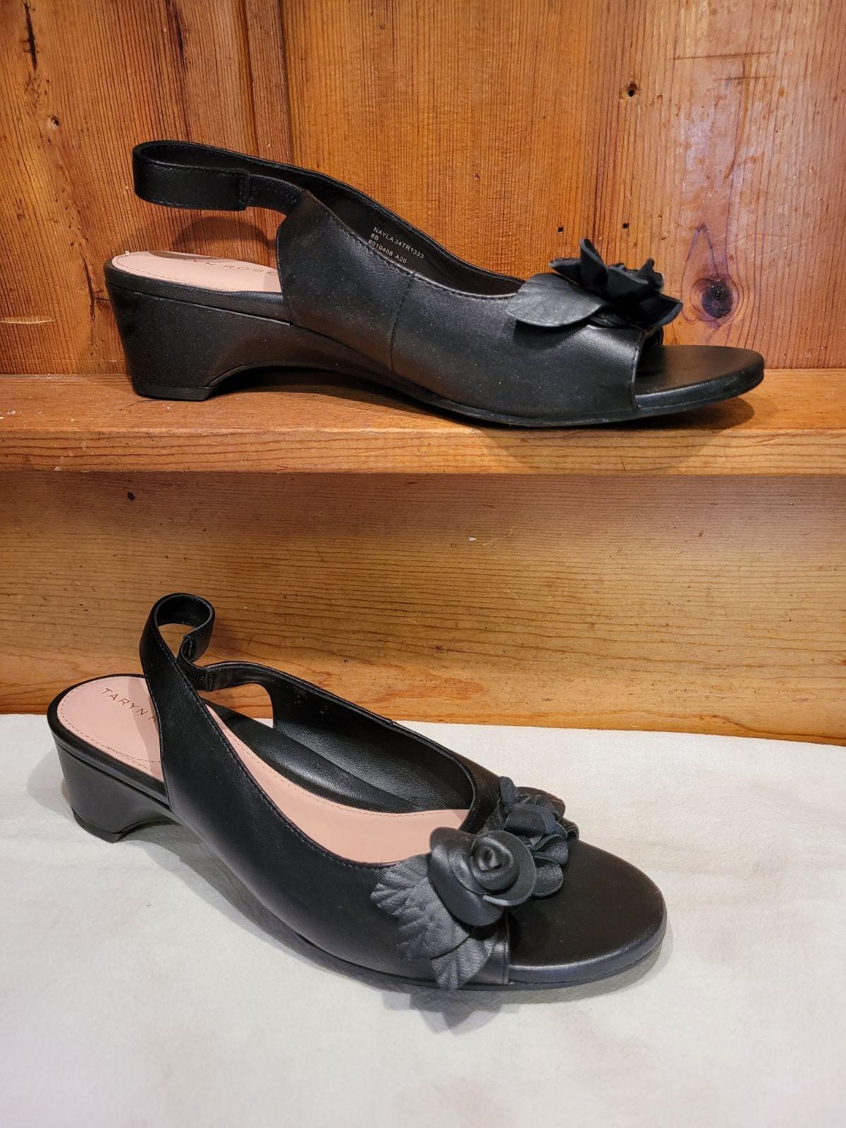 Taryn Rose black leather slingbacks Sz 8