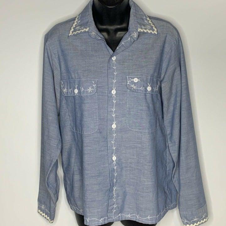 Womens Vtg Sz 14.5 Shirt Button Down Big