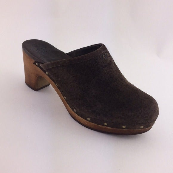UGG Shearling Brown Suede Clogs Size 7