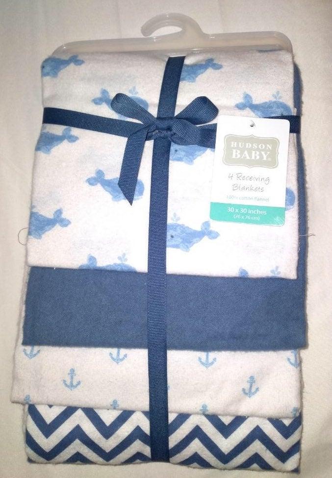 ** BRAND NEW 4 Receiving Blankets Hudson