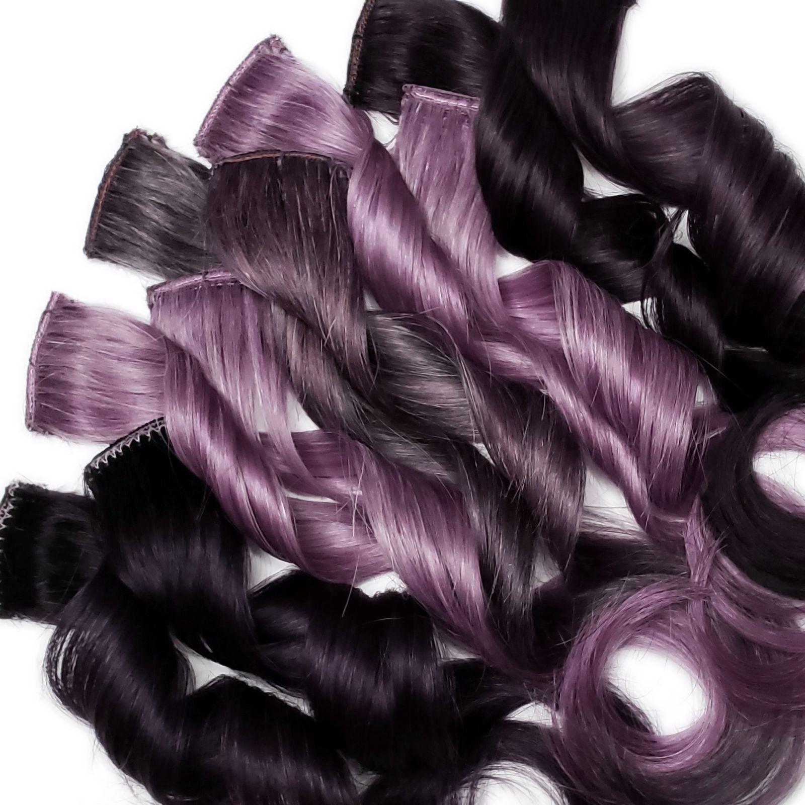 Purple 100% human hair extensions