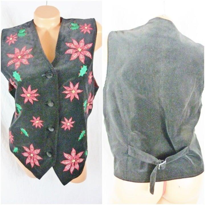 Karen Scott Large Christmas Velvet Vest