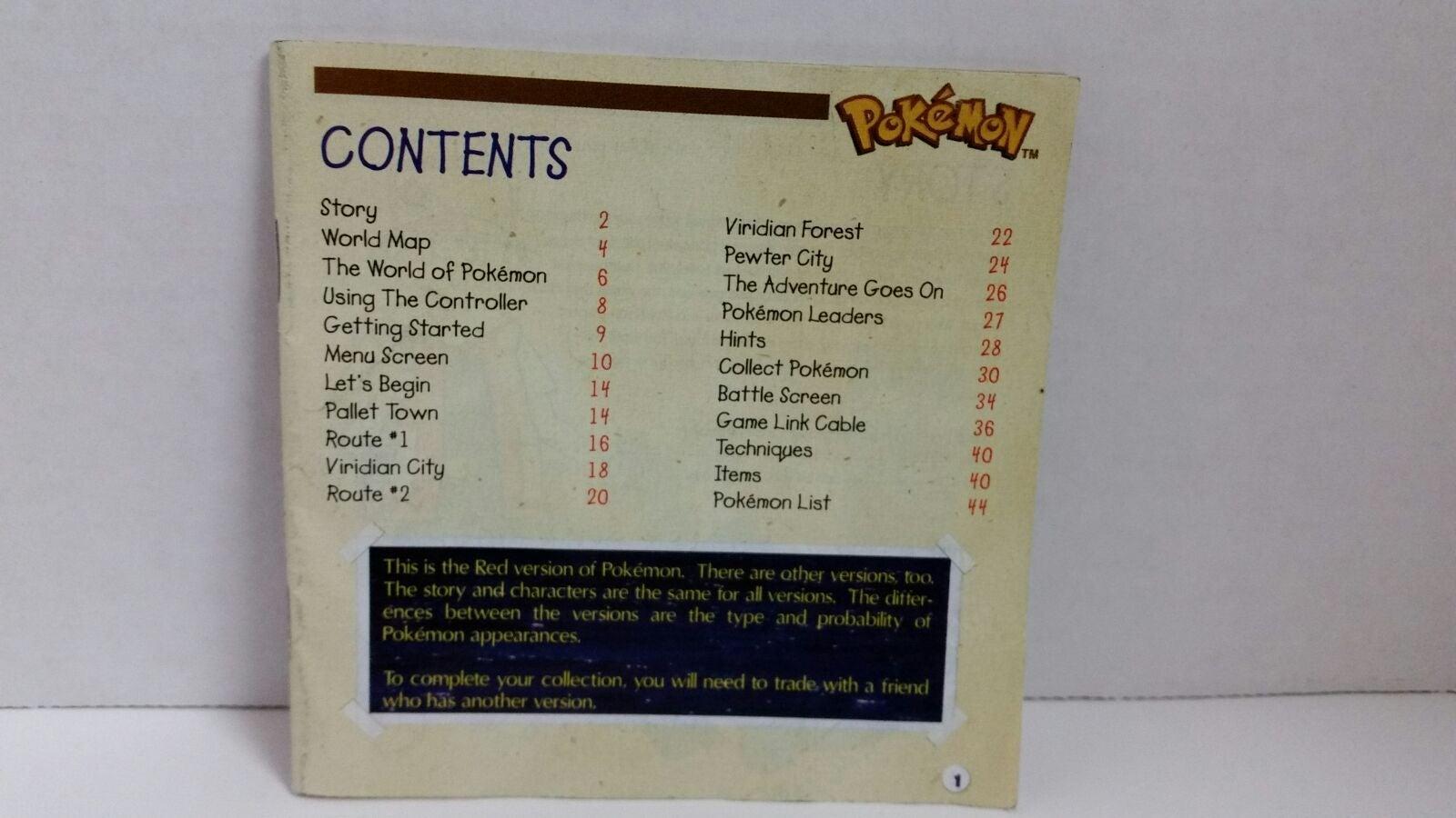 Pokémon Red Version Instruction Manual