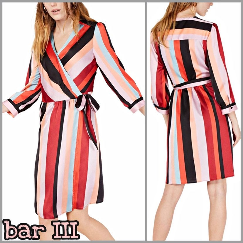 Bar III Reality Striped Wrap Dress NWT