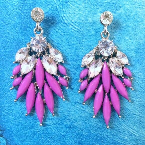 Opaque Purple Crystal Chandelier Earring