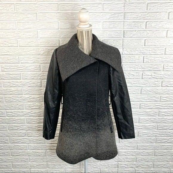 Rachel Rachel Roy Black Grey Wool Coat