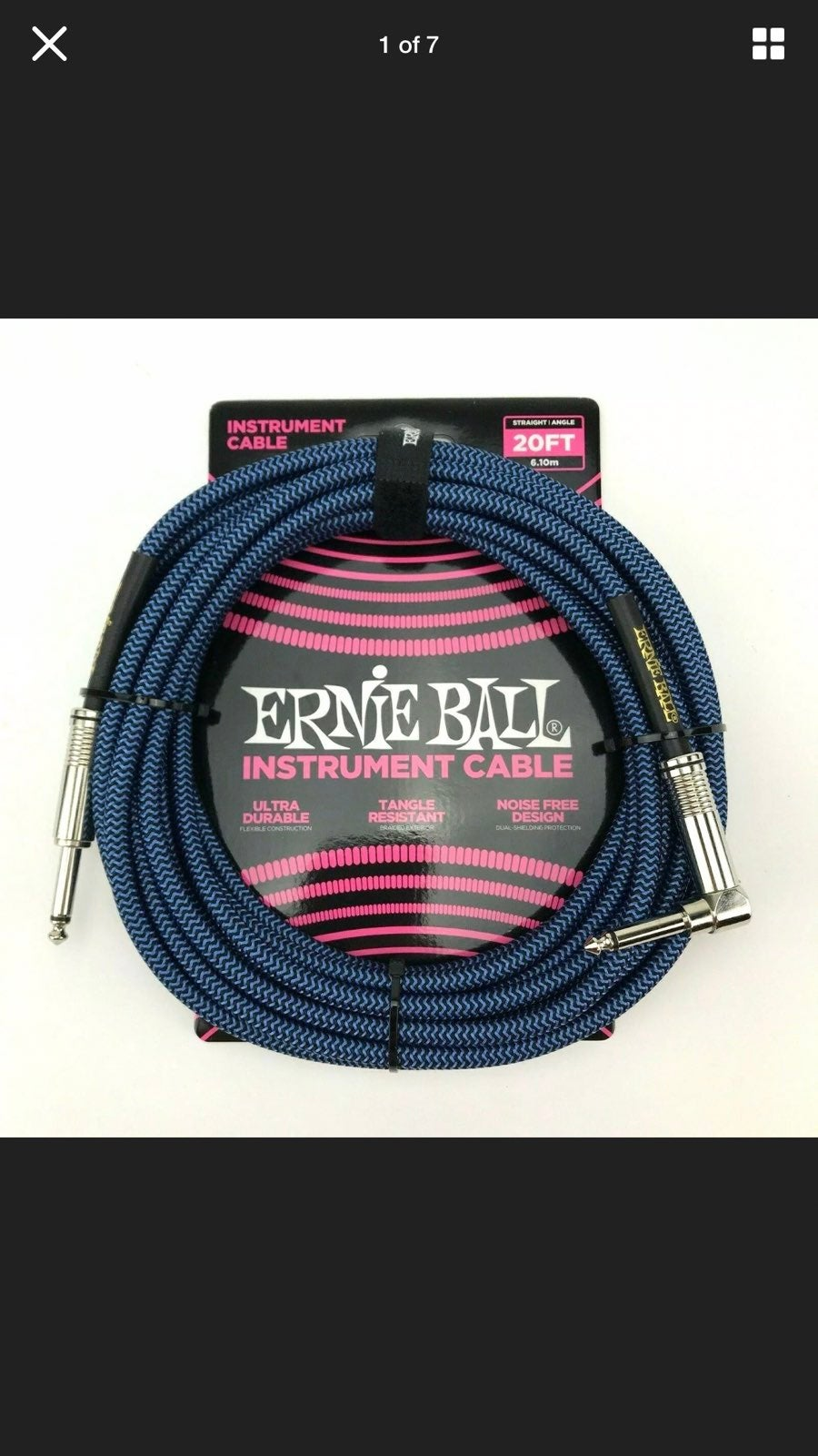 Ernie Ball 20ft Braided Instrument Cable