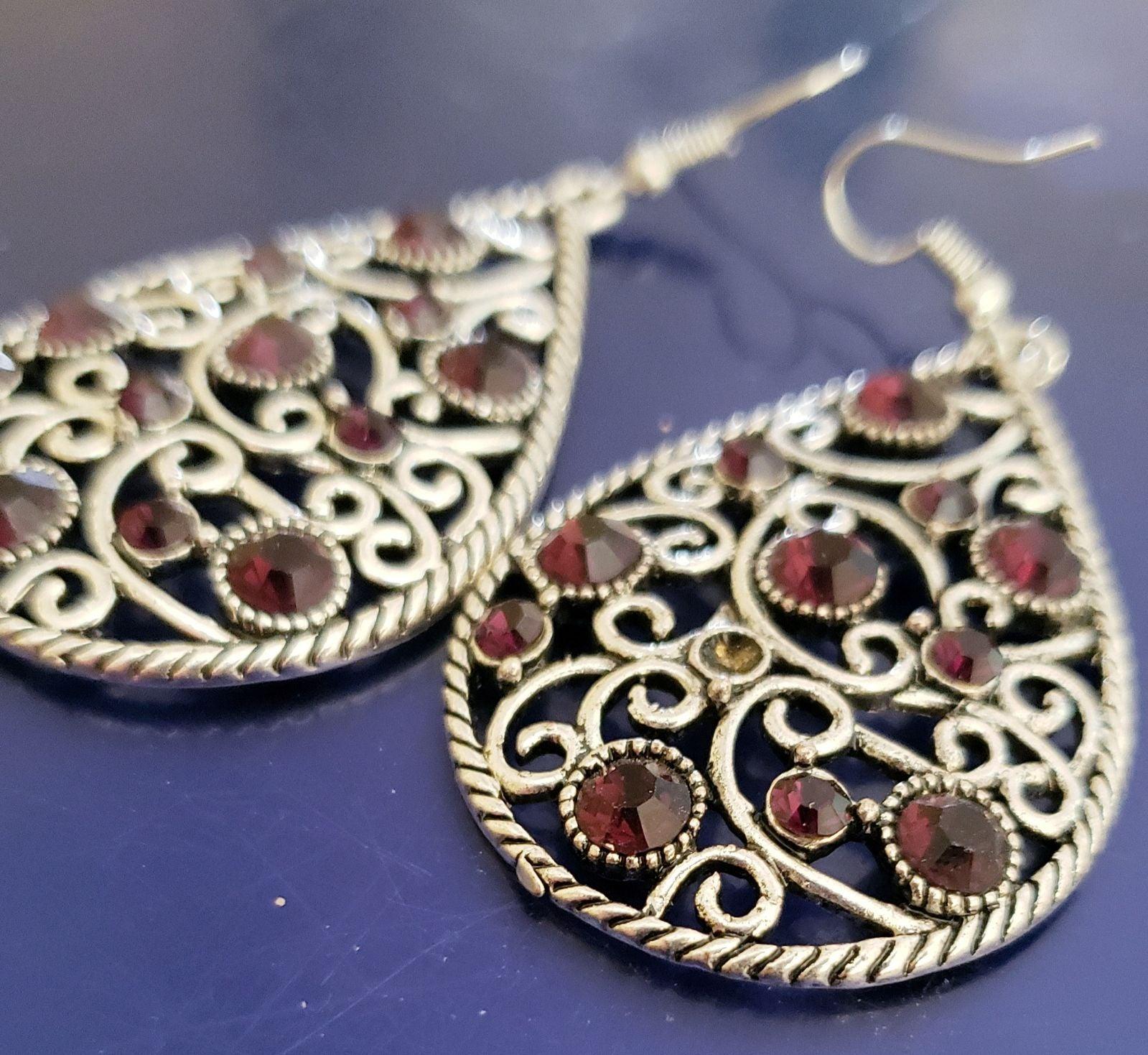 Faux red ruby dangle Earrings