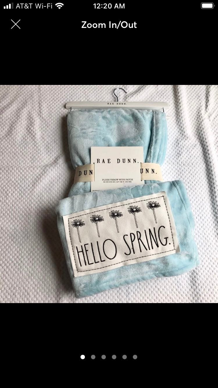 Rae Dunn Hello Spring Plush Throw HTf