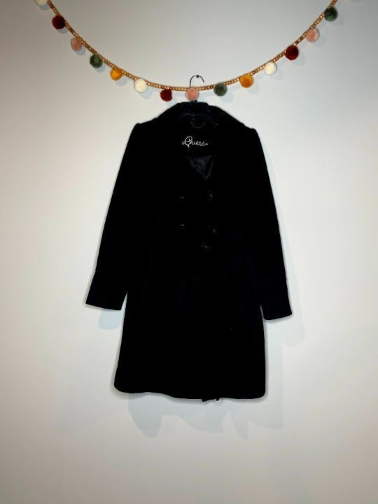 Guess black belted pea coat