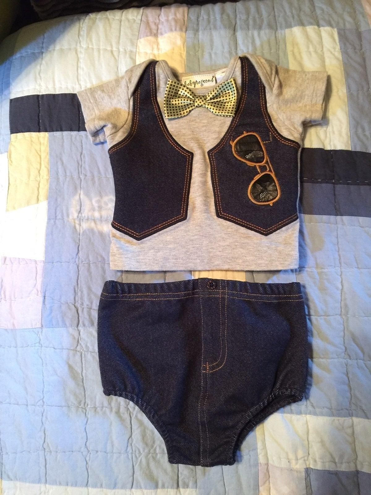 Babyrageous 6M Top w/ jean diaper cover