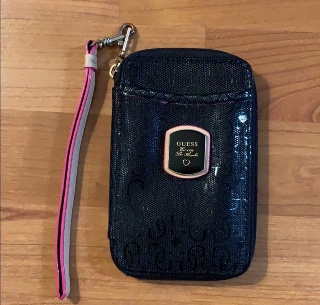 Guess black zip mini wristlet wallet