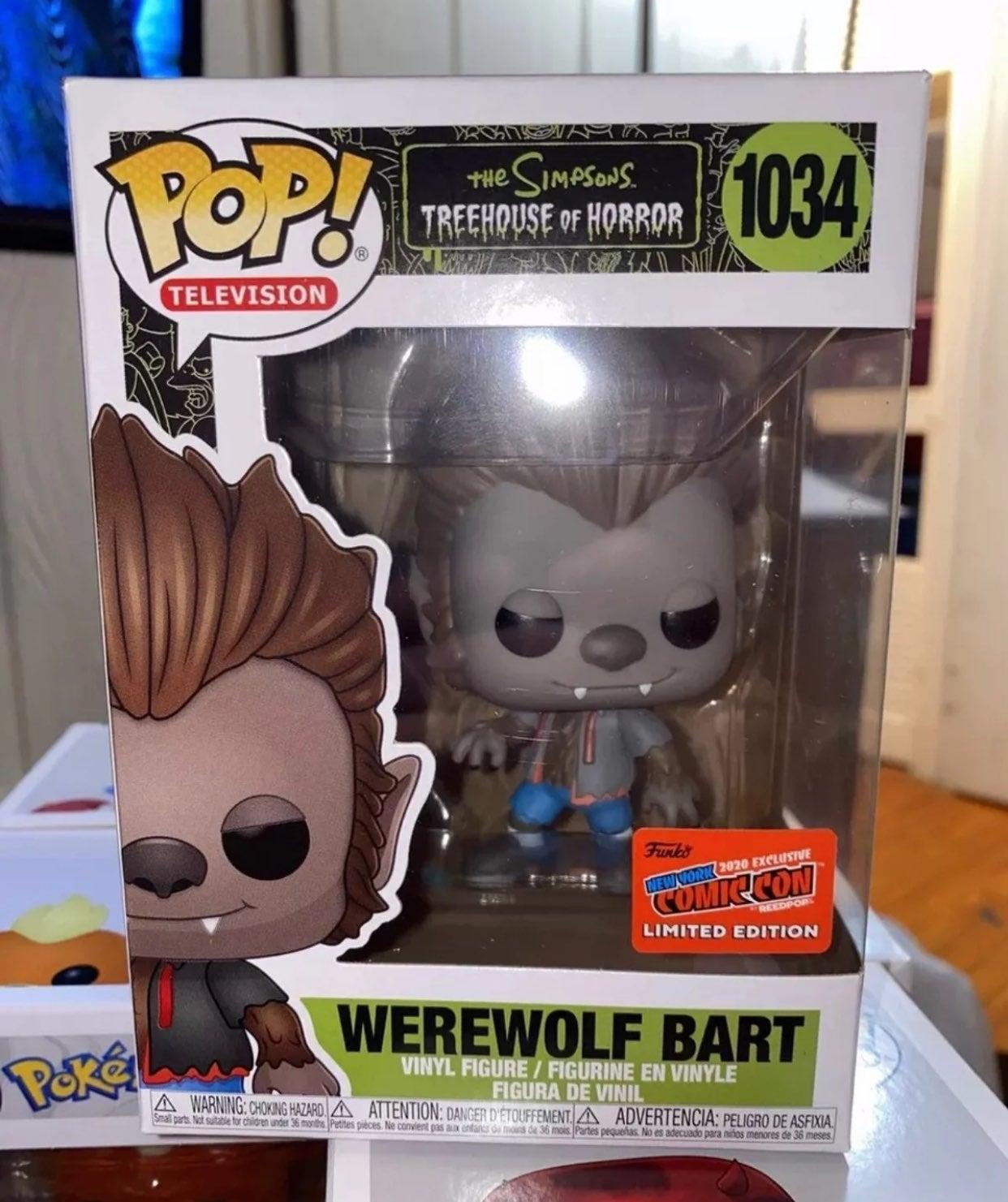 Simpsons Warewolf Bart NYCC Ex Funko Pop