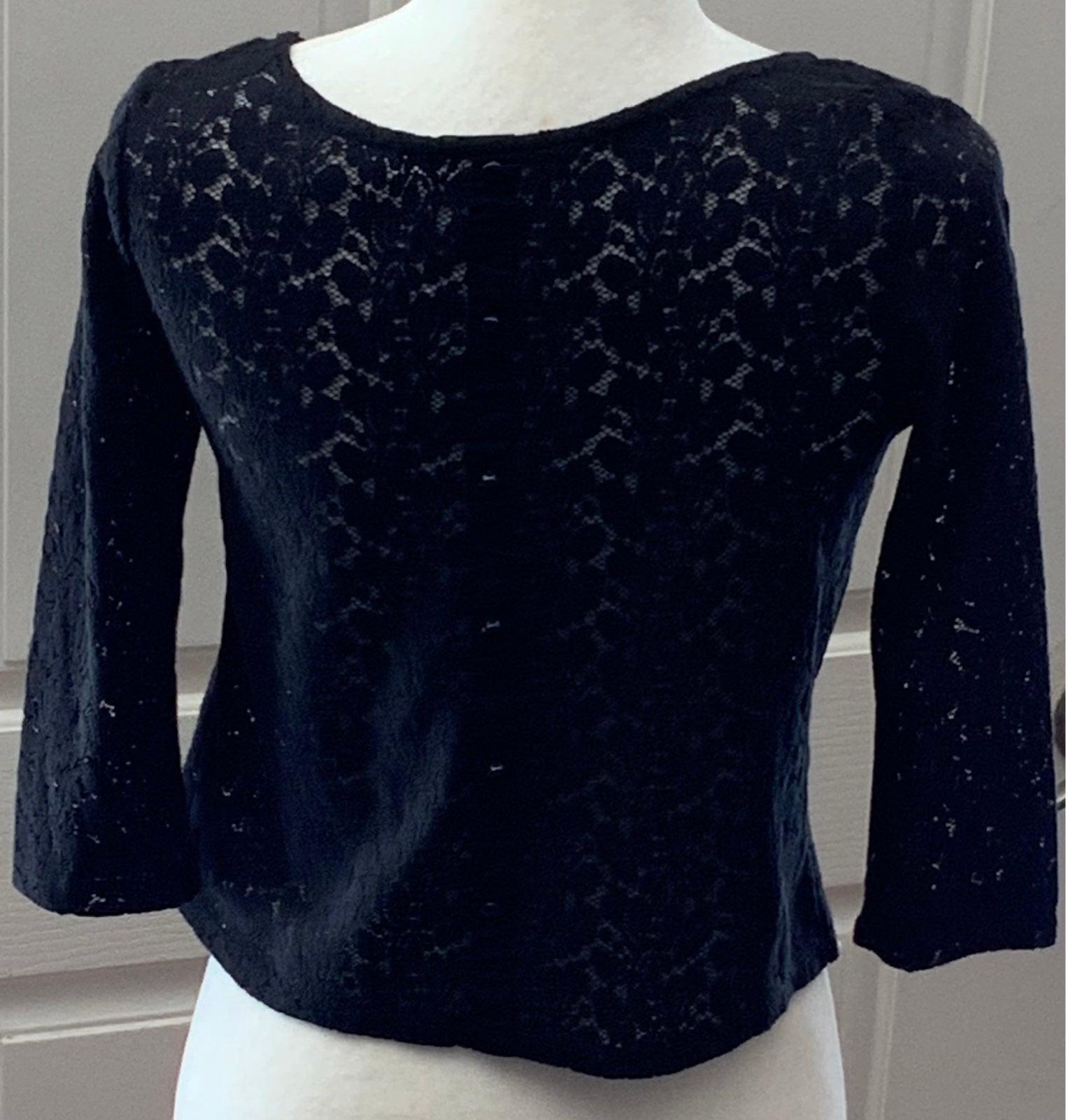 Black Stretch Lace top sz S