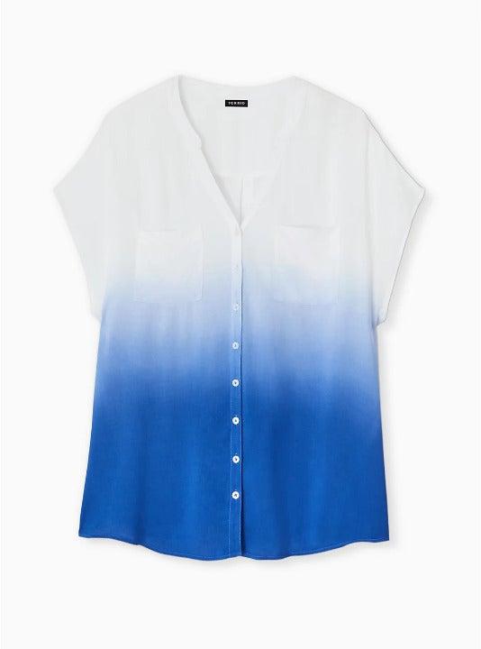New Torrid 2 Blue & White Dolman Top