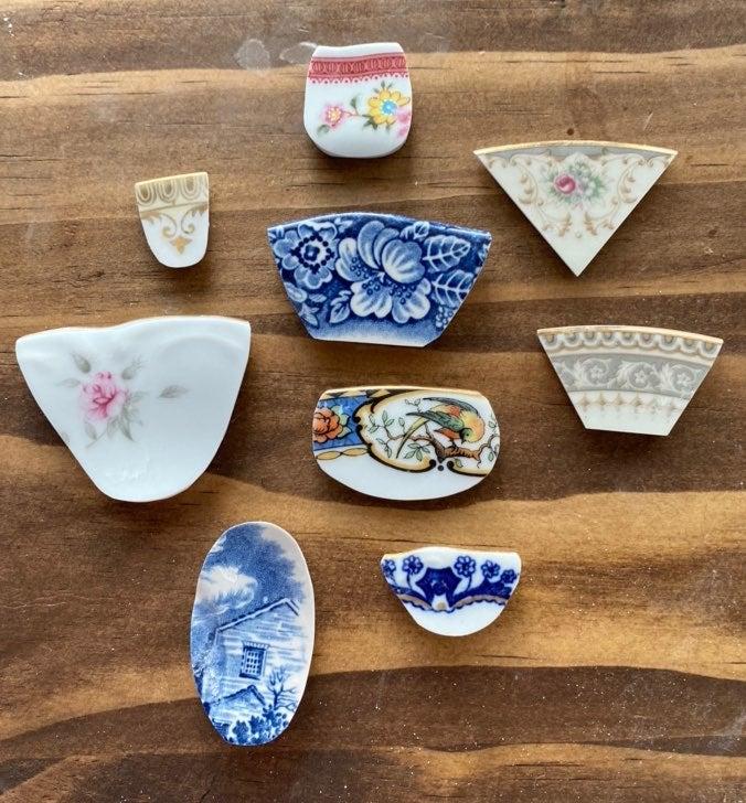 Lot of 9 polished broken china