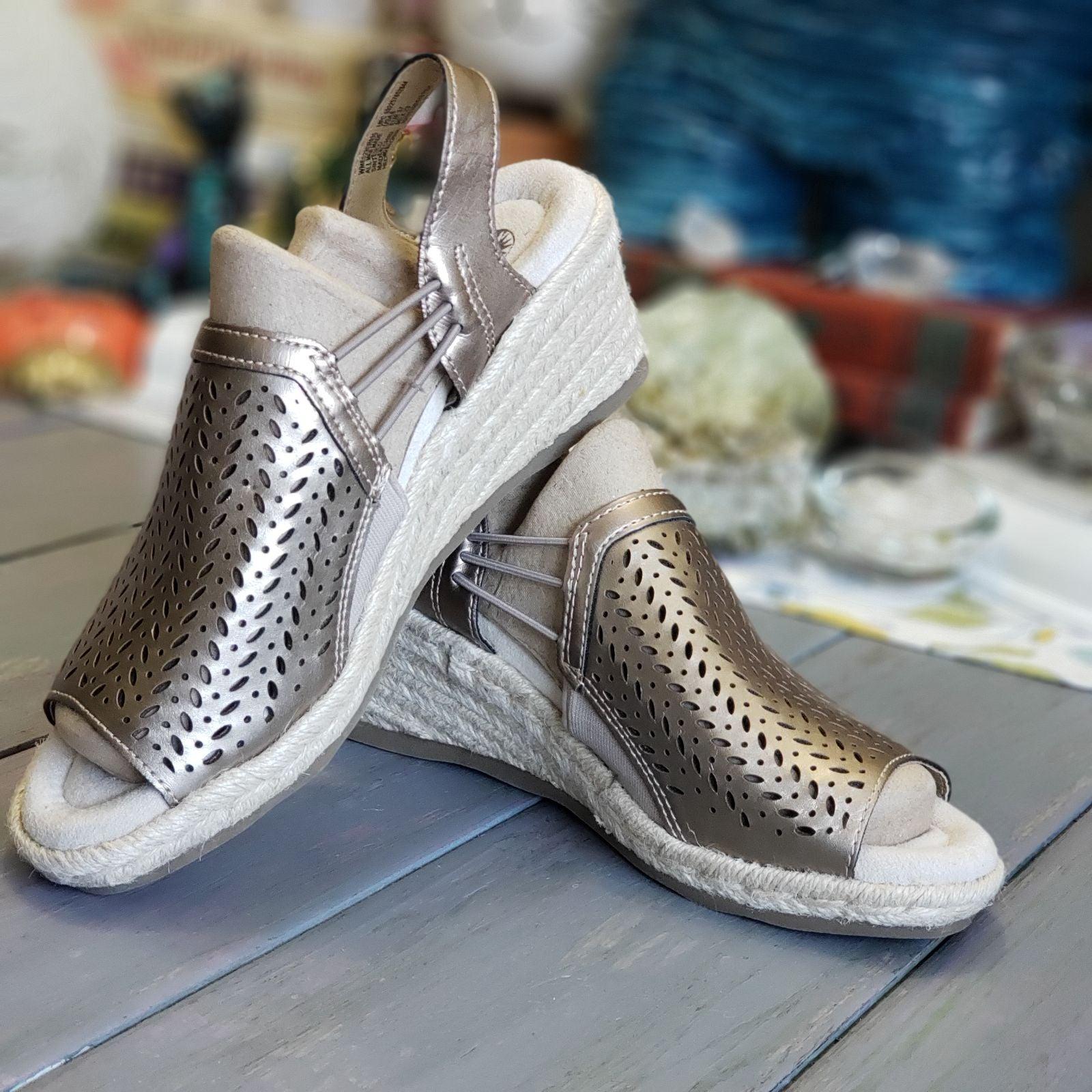 Earth Spirit Metallic Wedge Sandals