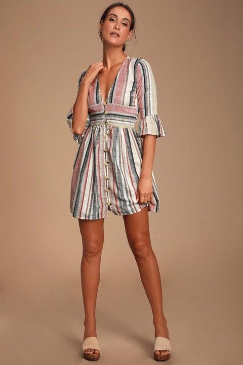 Lulus Cream Multi Striped Dress