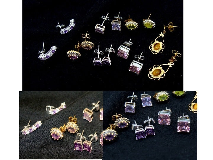 Beautiful gemstone zirconia earrings lot
