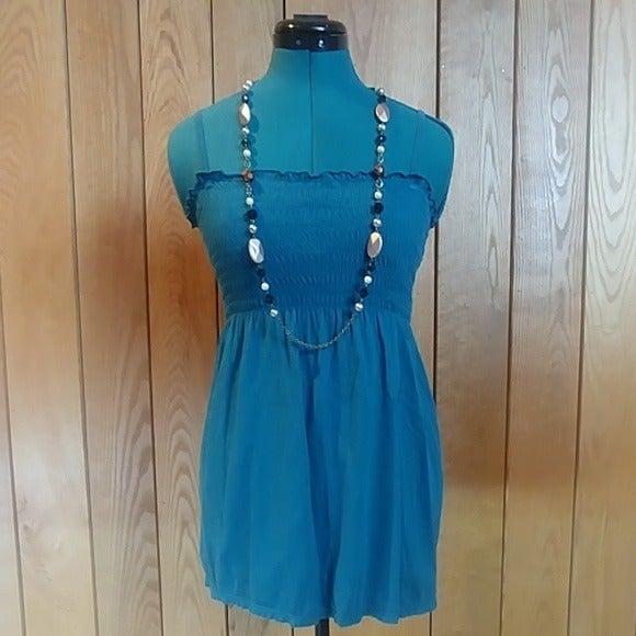 Aero Turquoise Shirred Cami Tunic Top S