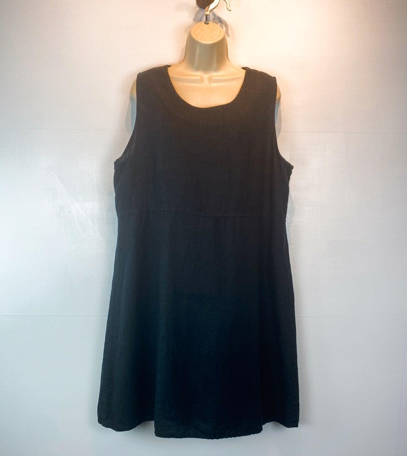 Flax sleeveless linen dress Large