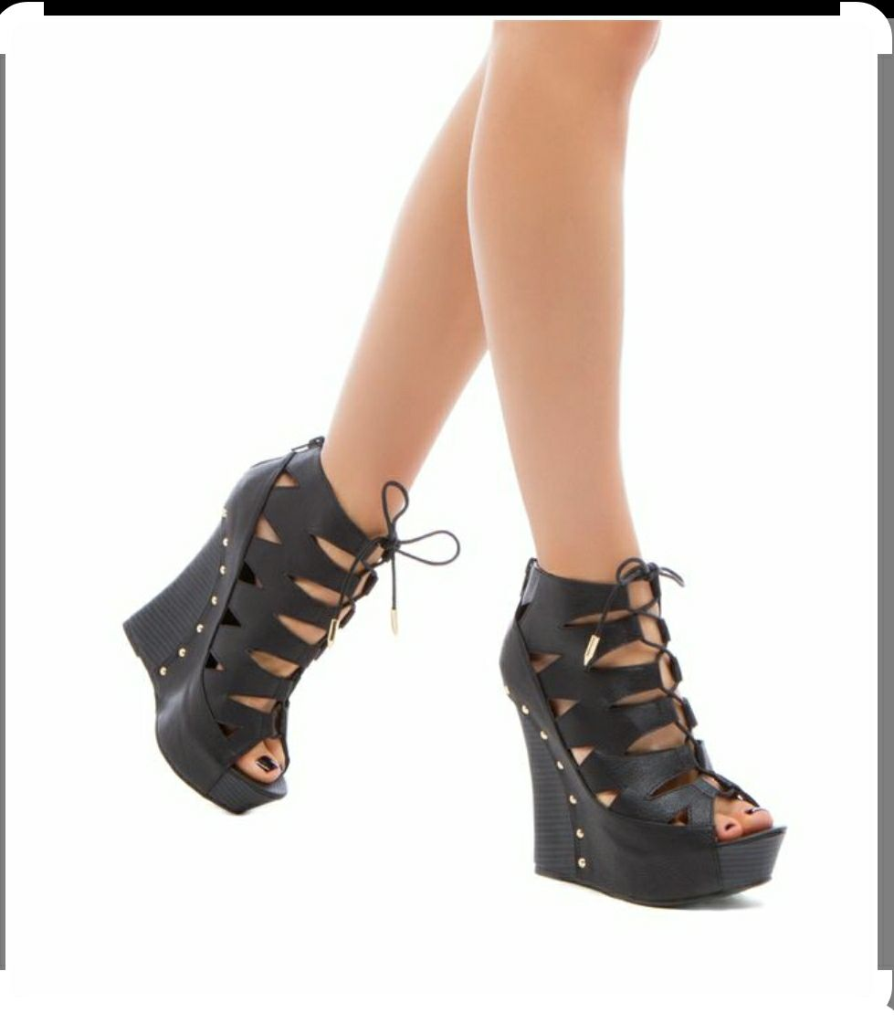 Faux Leather Lace Up Wedge