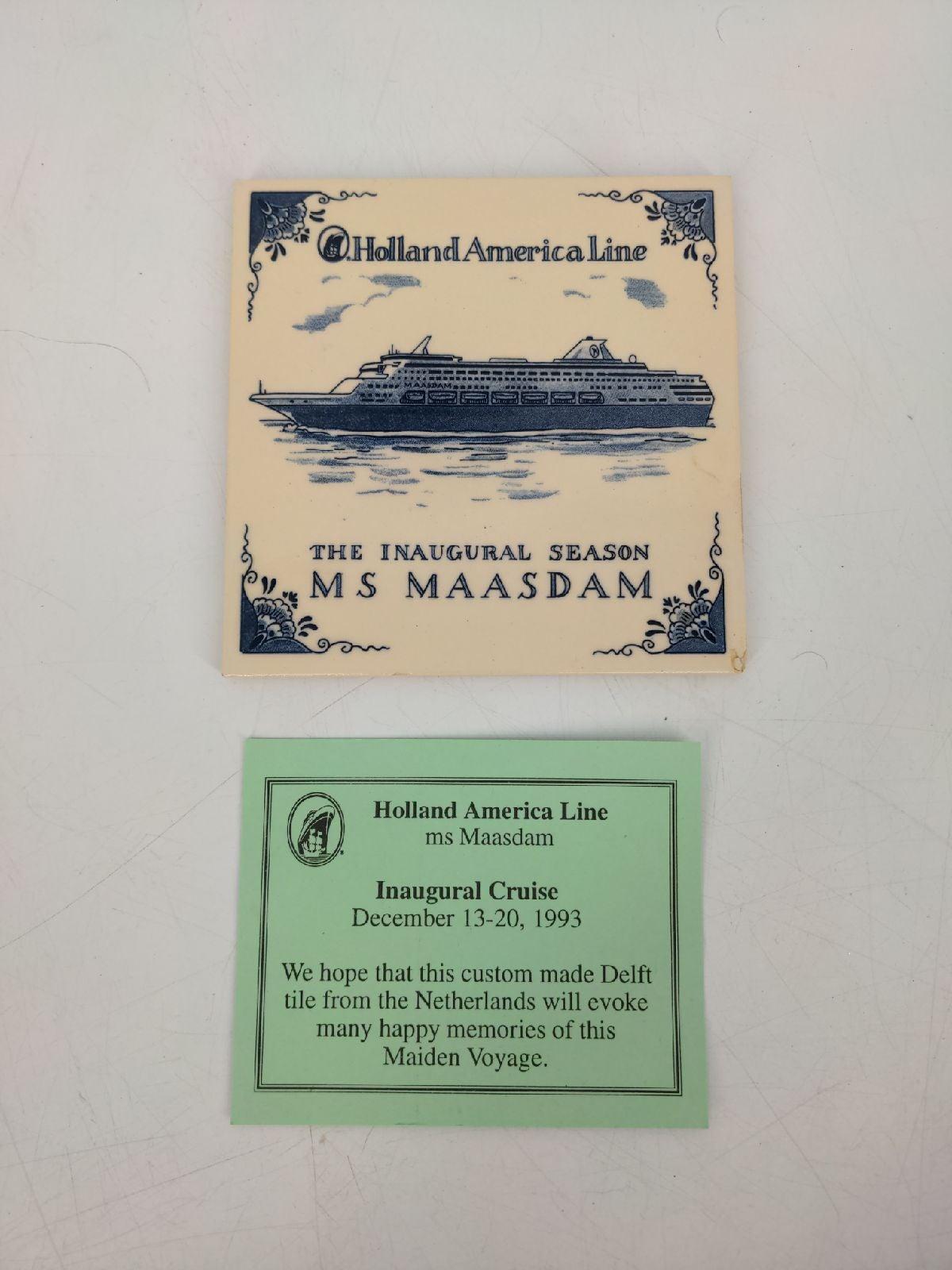 MS Maasdam Delft Inaugural Cruise Tile