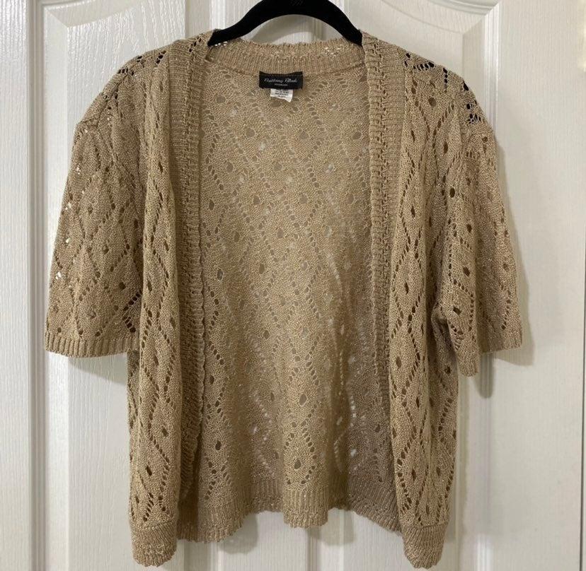 Beige & Gold Shrug Sweater 2x