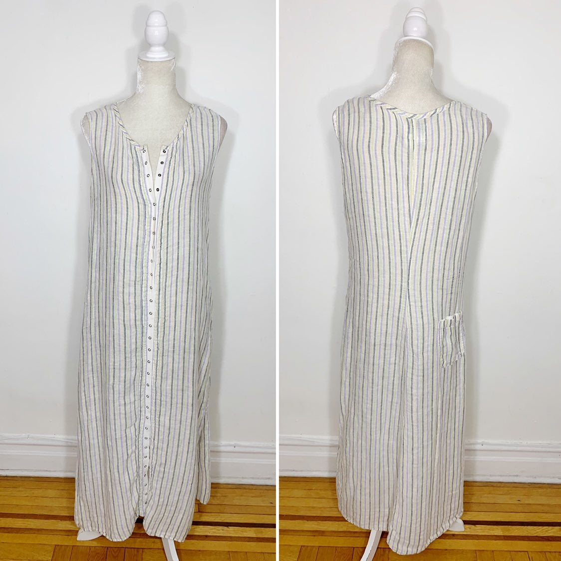 flax linen snap up sleeveless dress