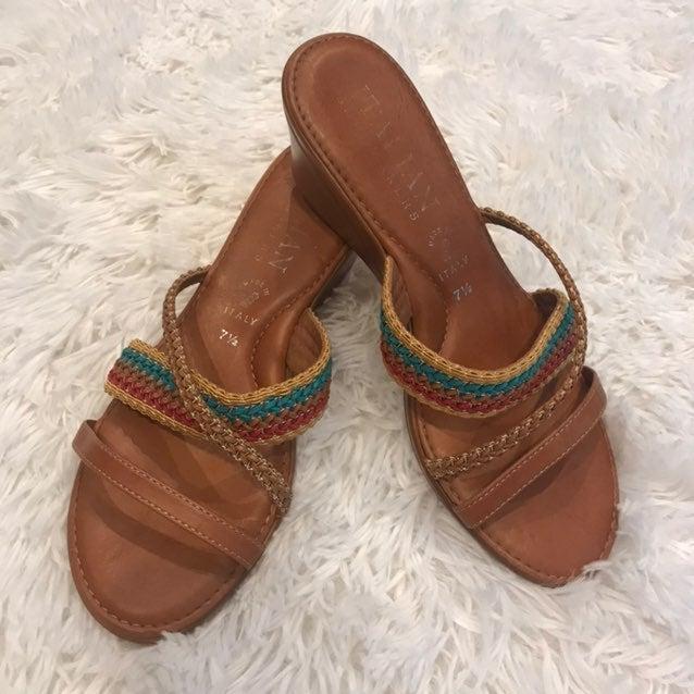 Italian Shoemaker's Wedge sandals 7.5
