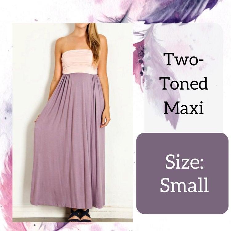 Small Lavender Two-Tone Maxi Dress