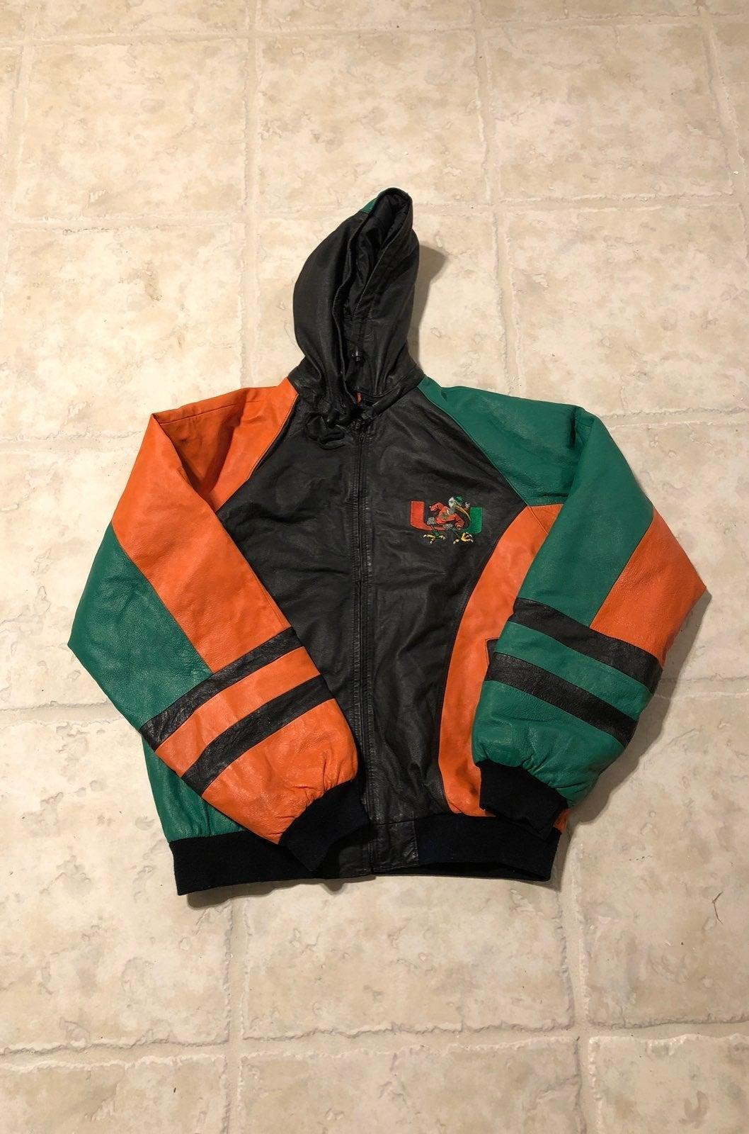 miami hurricanes leather XXL jacket