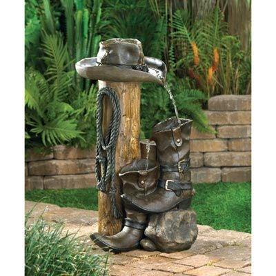 Cowboy garden fountain