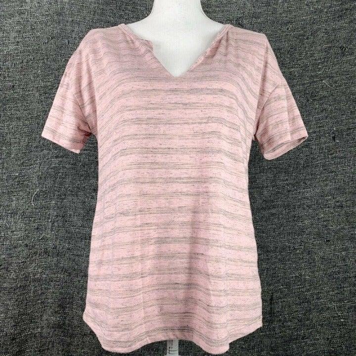 Socialite Medium Knit Top V Neck Pink