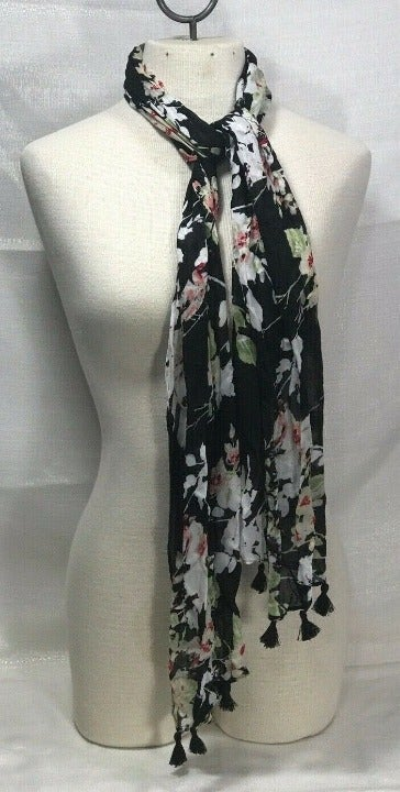 Scarf Unbranded Black Floral