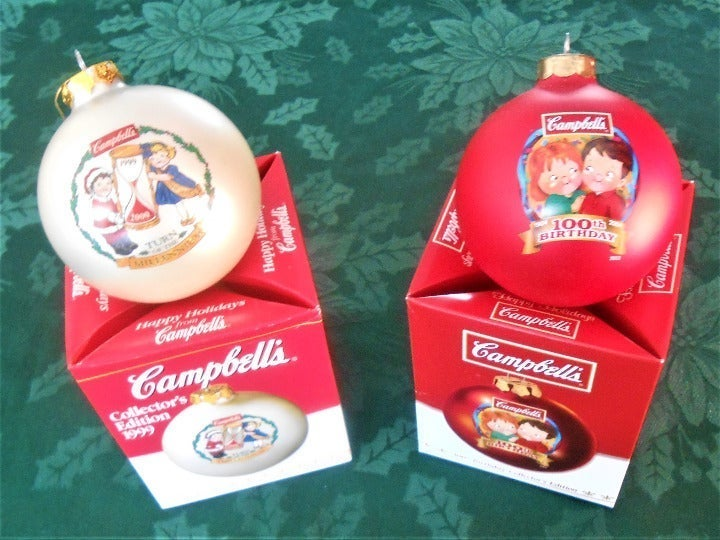 Two Campbell's Kids Christmas Ornaments