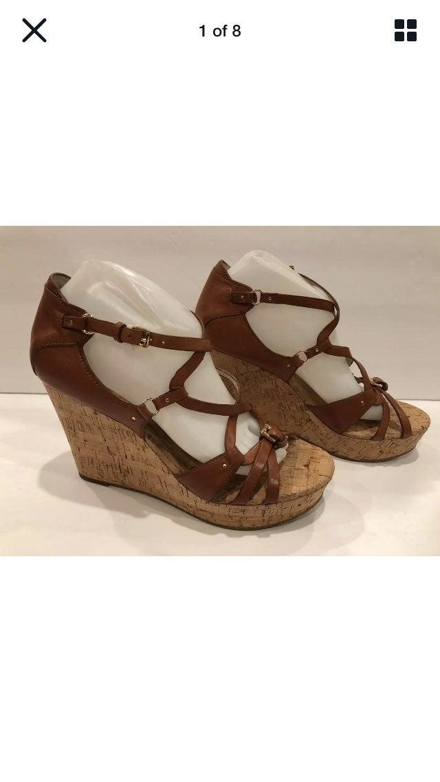 Michael Kors wedge sandals brown 10