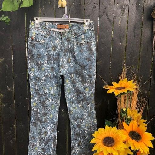 Blue Floral Jeans