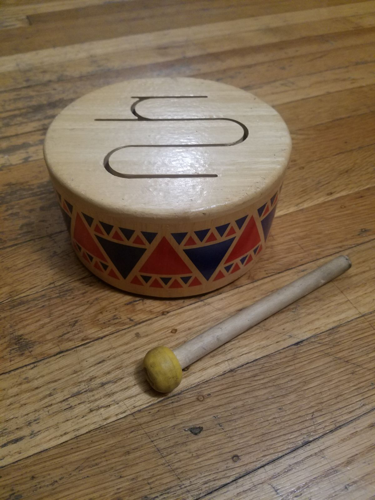 PLAN TOY Wooden Drum w/ Mallot VINTAGE