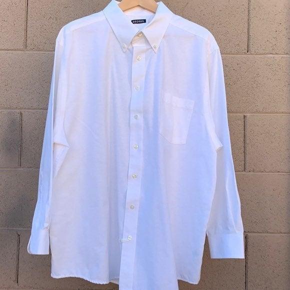 GEORGE Men's White Dress Shirt XXL