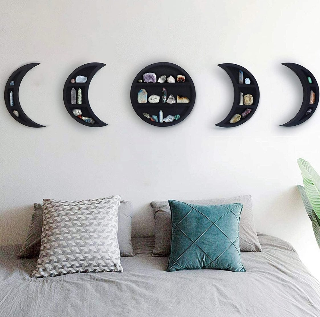 5-Pc Moon Stages Floating Shelves -Black