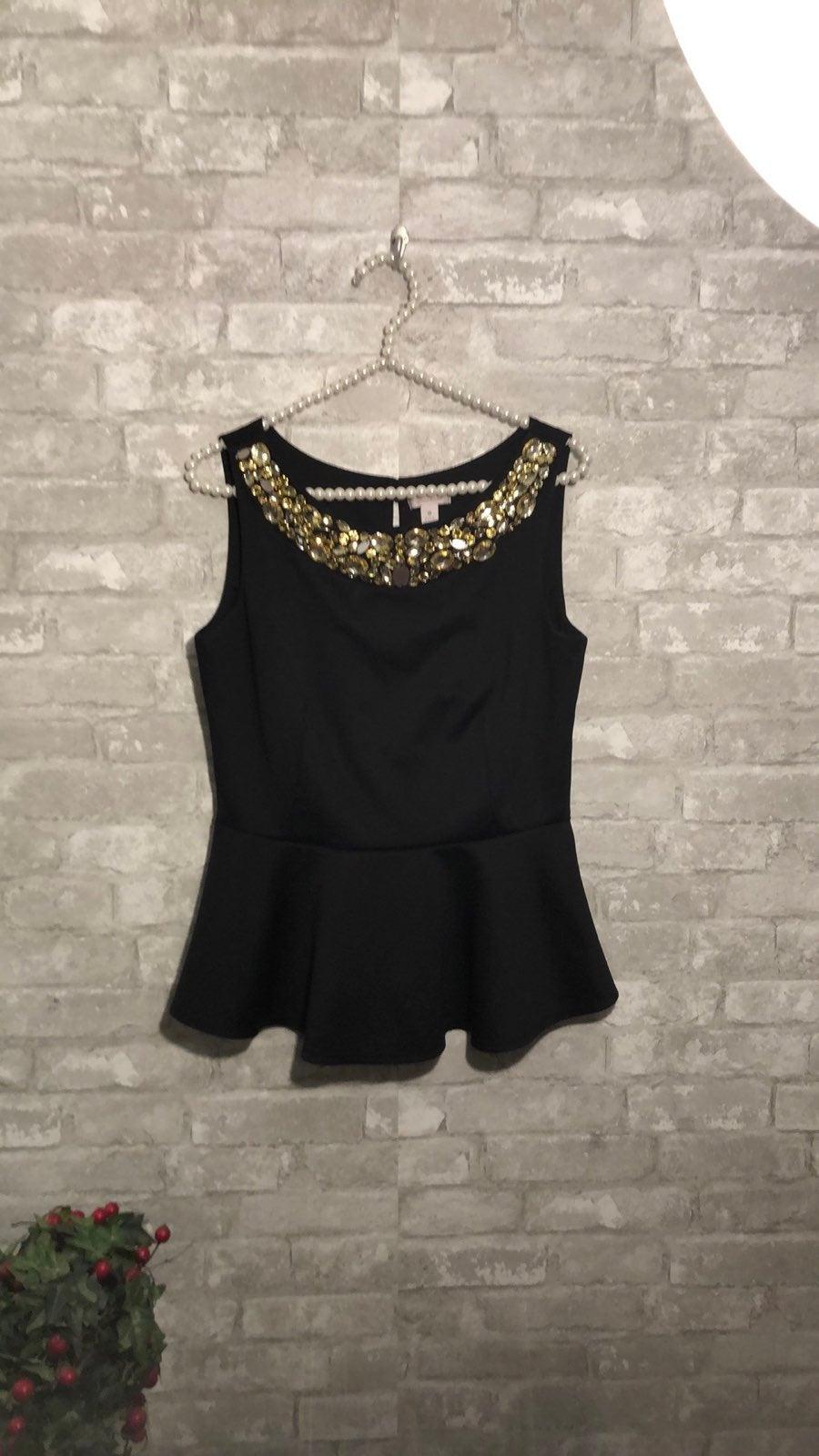 Bisou Bisou Dress Top Gold Stone Embelli