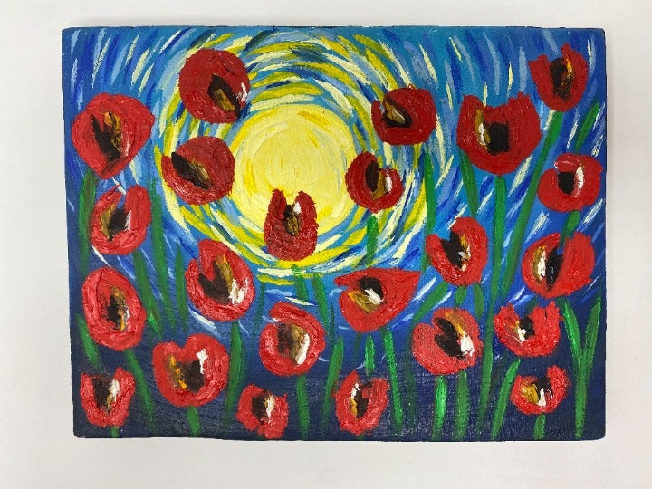 Poppies on a starry night Artwork UNIQUE