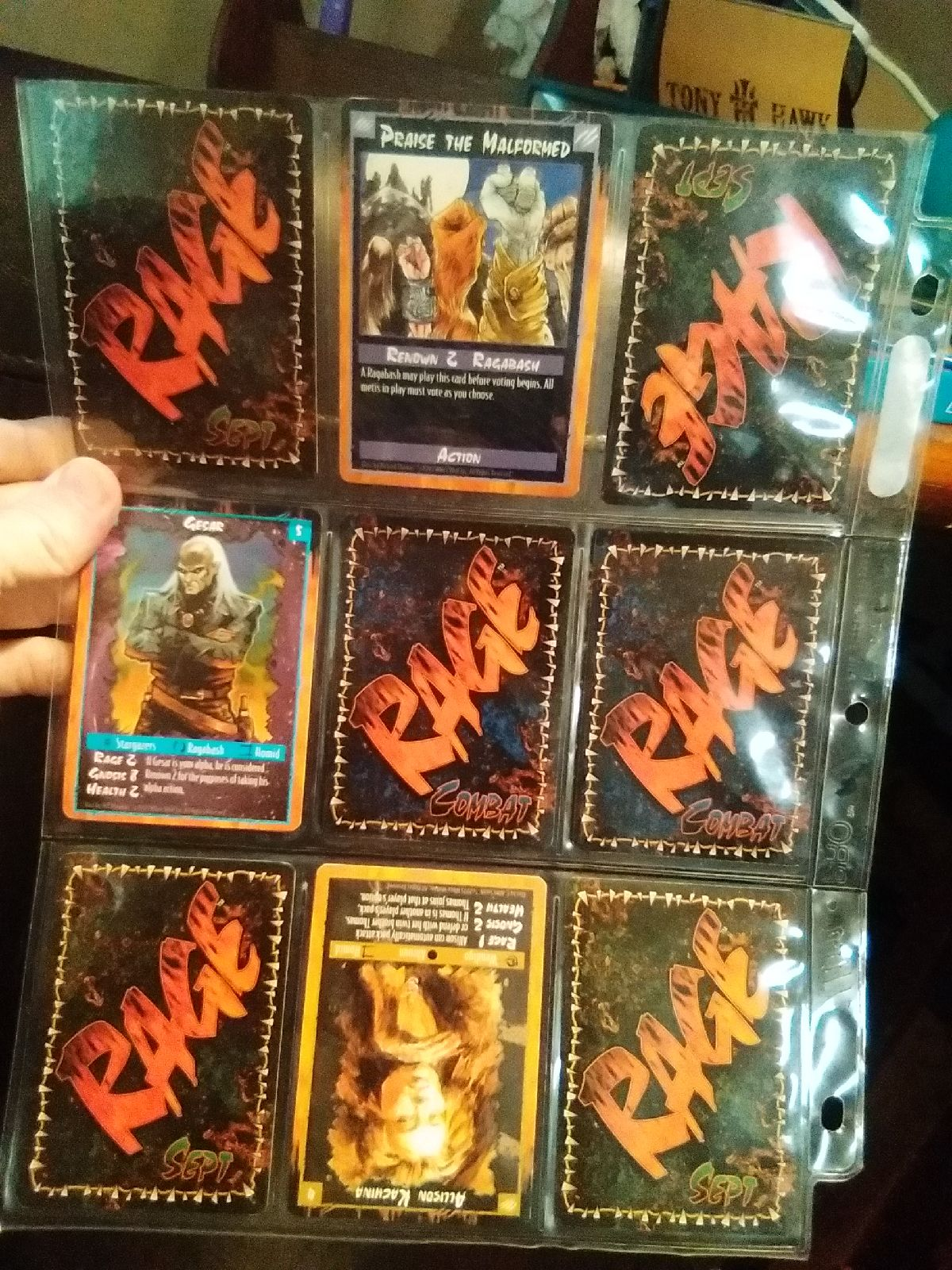 "Set of "" rage"" cards"