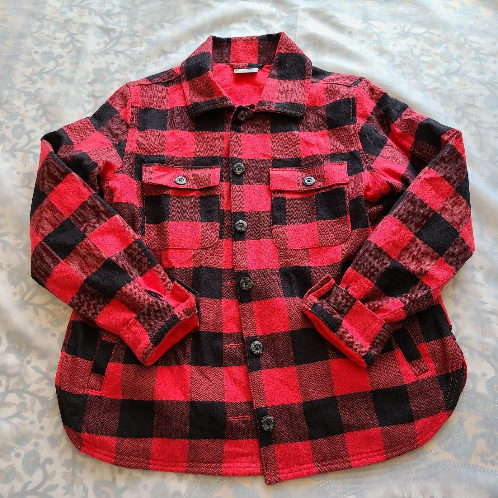 Columbia powder peak red plaid shirt