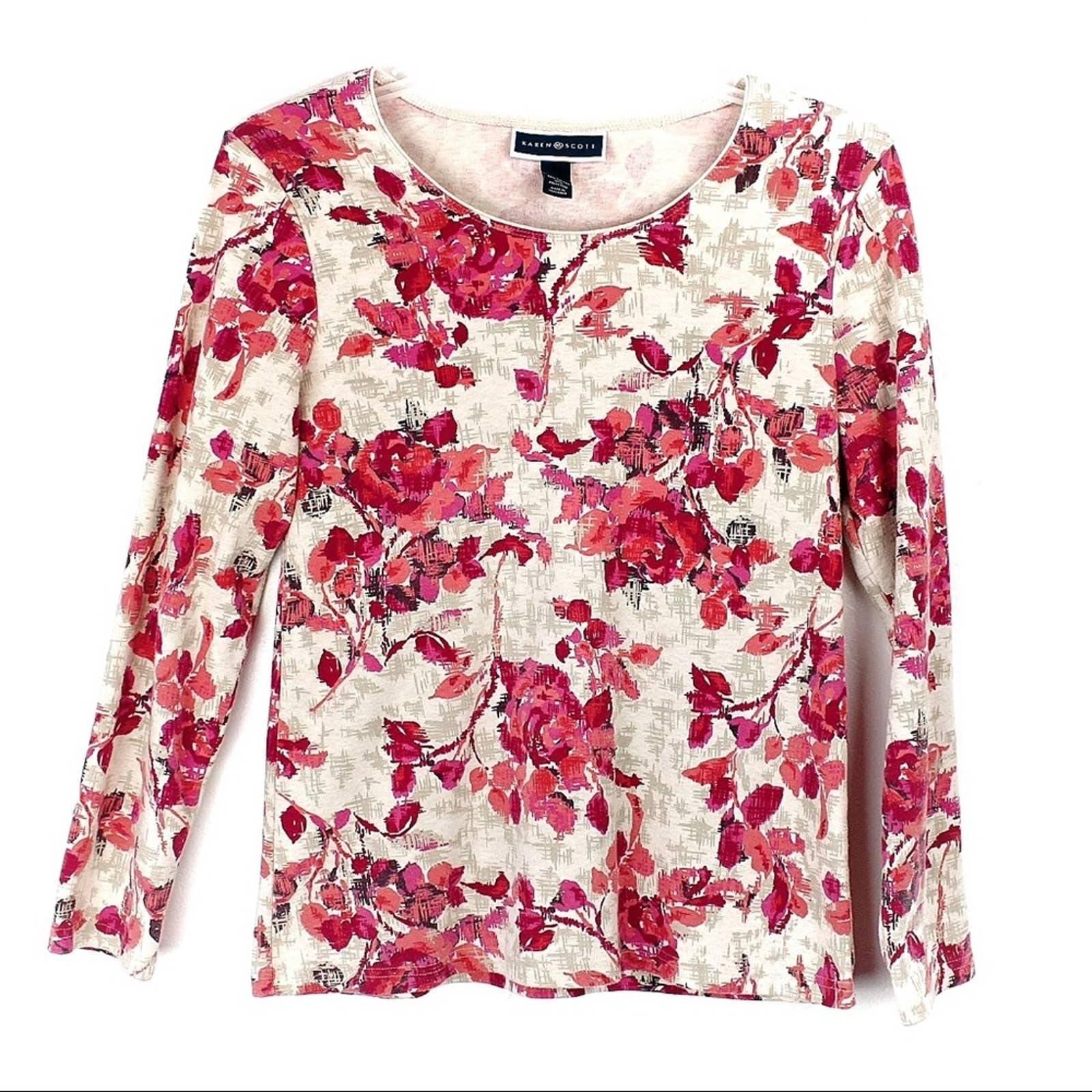 Karen Scott Floral Long Sleeve Top
