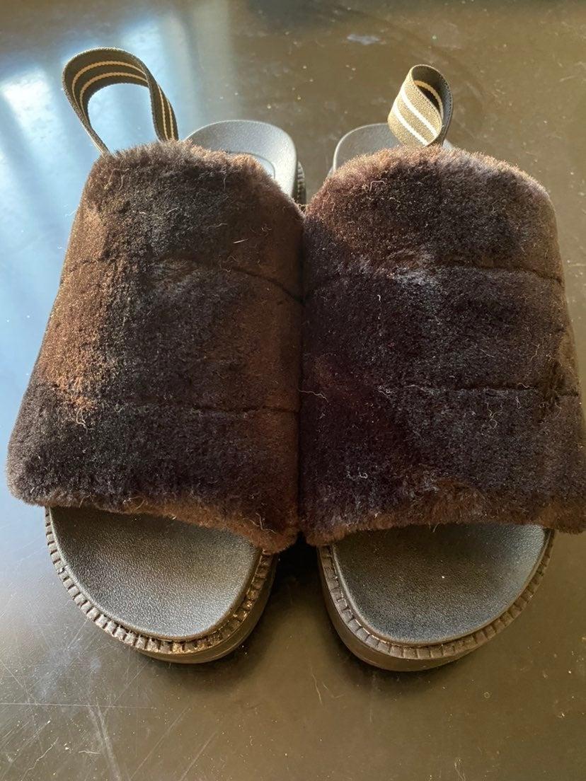 Black Furry Platform Sandals